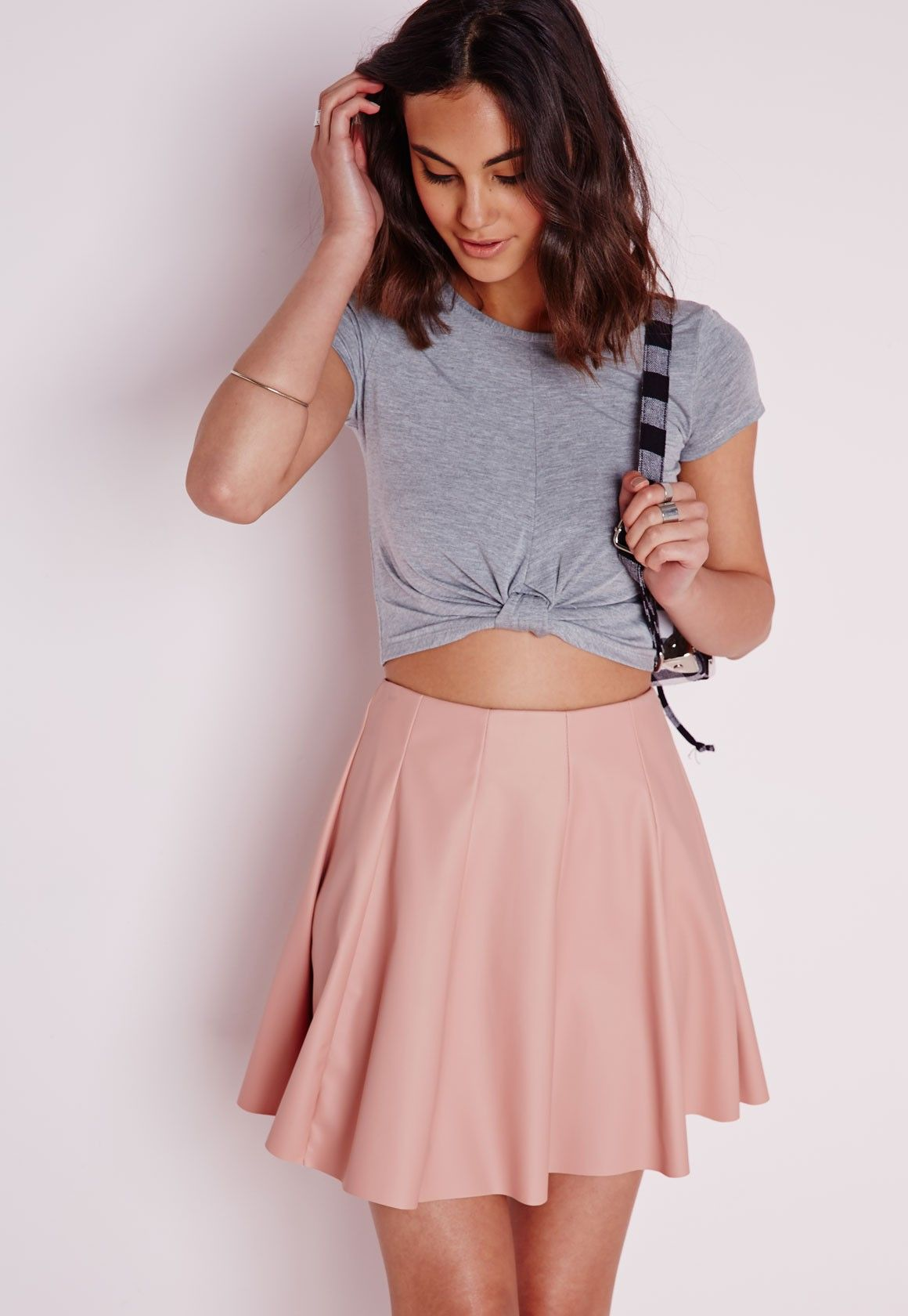 e1642ea8adccb Capped Sleeve Knot Crop Top Grey-4 in 2019 | SLEEVES | Casual tops ...