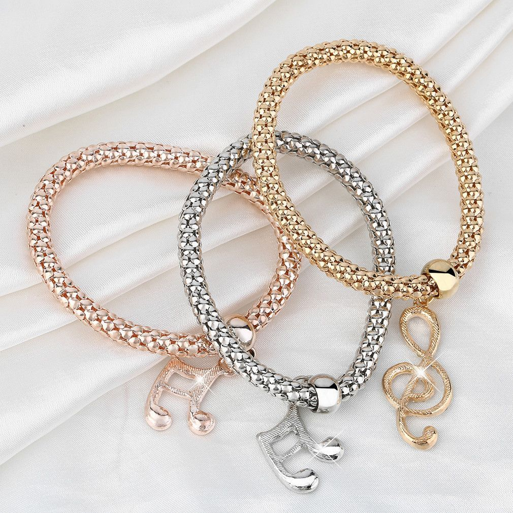Girls design vintage elastic musical note pendant bracelet chain