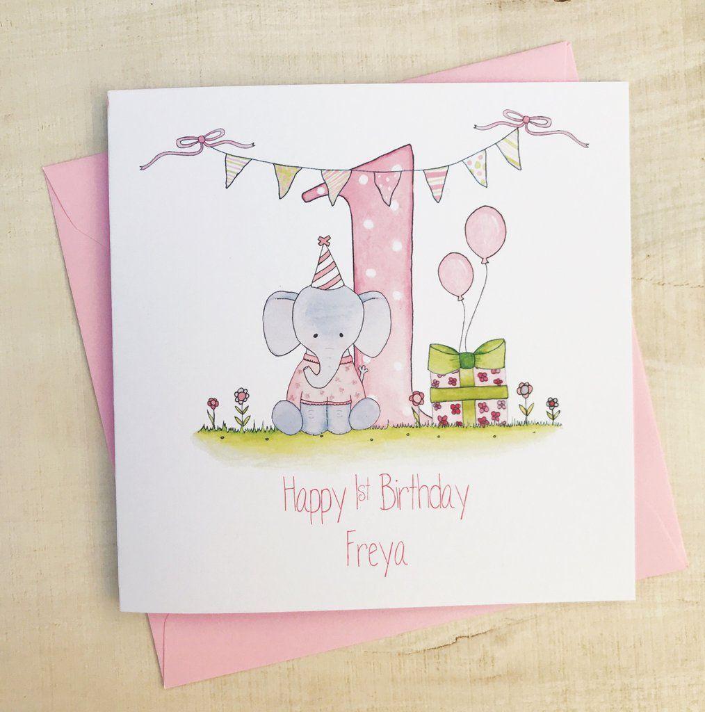Personalised Girls 1st Birthday Card Elephant Birthday Card Drawing 1st Birthday Cards First Birthday Cards