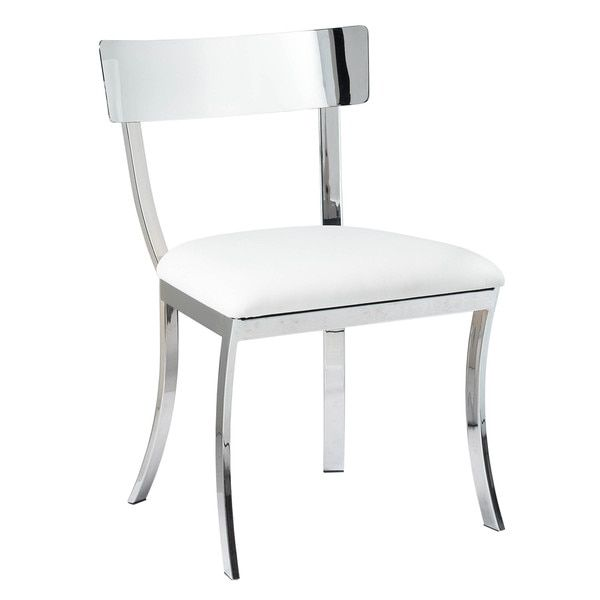 Sunpan Ikon Maiden White Stainless Steel Silver Dining Chair Set Of 2 Chairs And