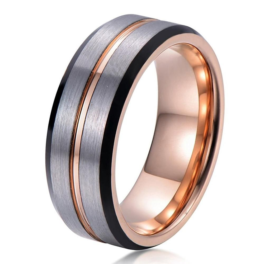 Mens Rose Gold Wedding Band Ring Brushed 8mm Tungsten Carbide Man Engagement Male Anniversary Beveled Edges Promise Silver