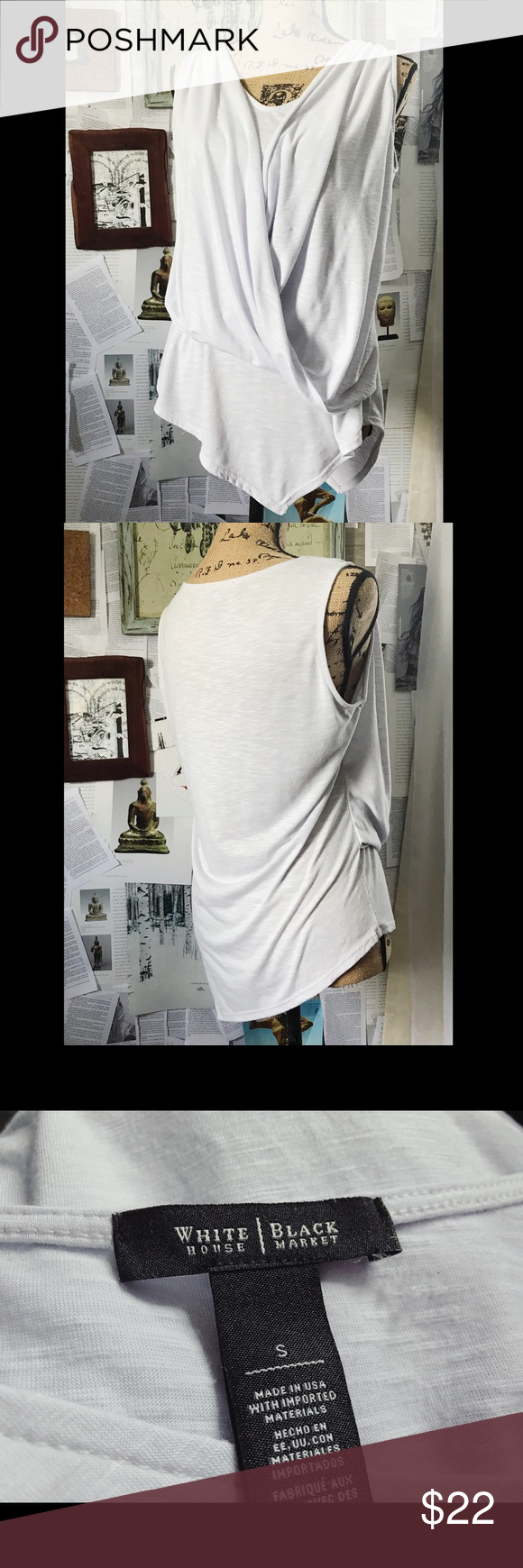 Draped Faux Wrap Blouse | Small Beautiful pale pastel lavender faux wrap draped Blouse. Features a dual scoop and v-neck with a high back. Sleeveless with an asymmetrical hem. White House Black Market Tops Blouses