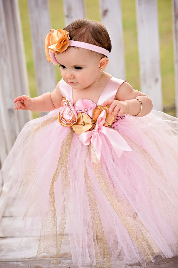 Gorgeous Pink Gold Tutu Dress Pink Gold Satin Flower for Baby Girl 6 ...