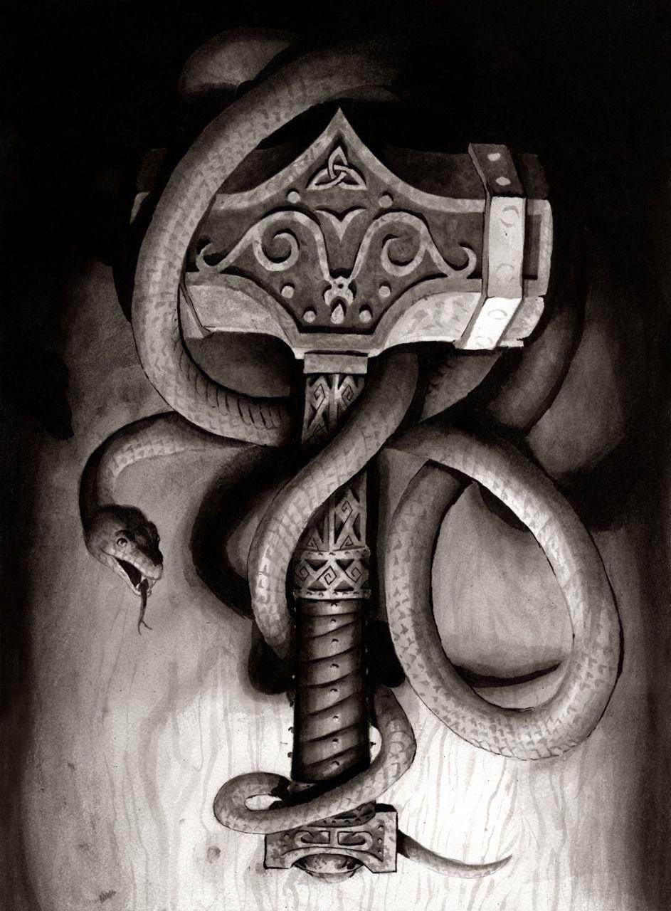 The hammer art stuff pinterest vikings tattoo and mythology