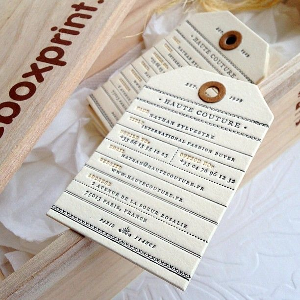 Luggage Tag Business Cards With Beautiful Letterpress Details - Luggage tag business card template