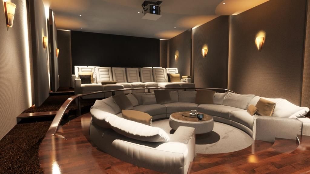 Circle Sofa For Interior Home Cinema Design Ideas With Good Lighting ...