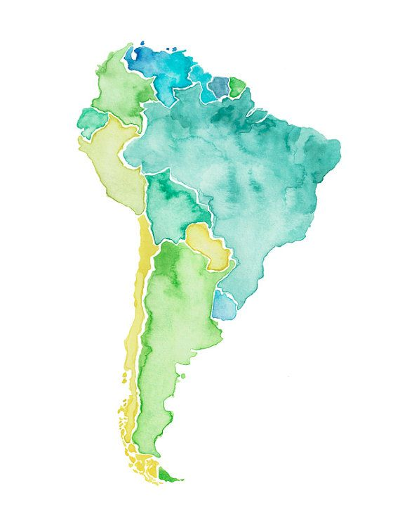 5x7, 8x10, 85x11 or 11x14 - South America Print South america - best of world map fabric etsy