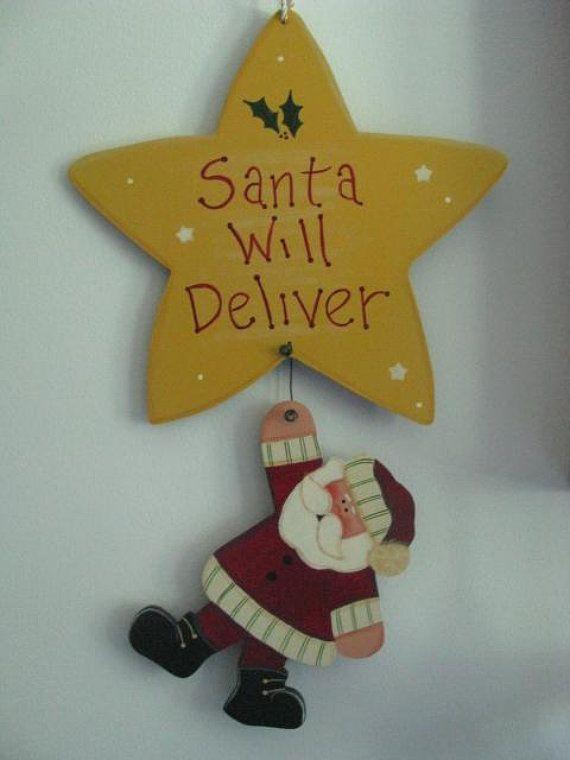 Santa wall hanging, Christmas wall hanging, Santa wall decor ...