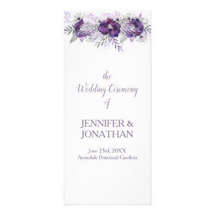 purple lavender gray floral wedding program summer wedding diy