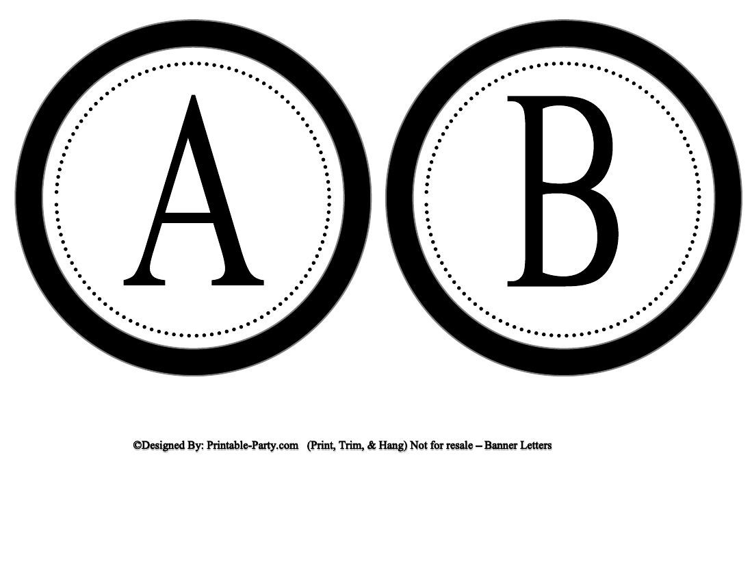 5 Inch Circle Black Banner Printable Alphabet Letters Printable Alphabet Letters Printable Banner Letters Lettering Alphabet
