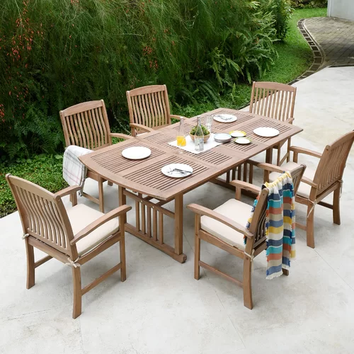 Corpuz Rectangular 6 Person 60 25 Long Teak Dining Set With Cushions Teak Patio Furniture Patio Dining Set Patio Furniture