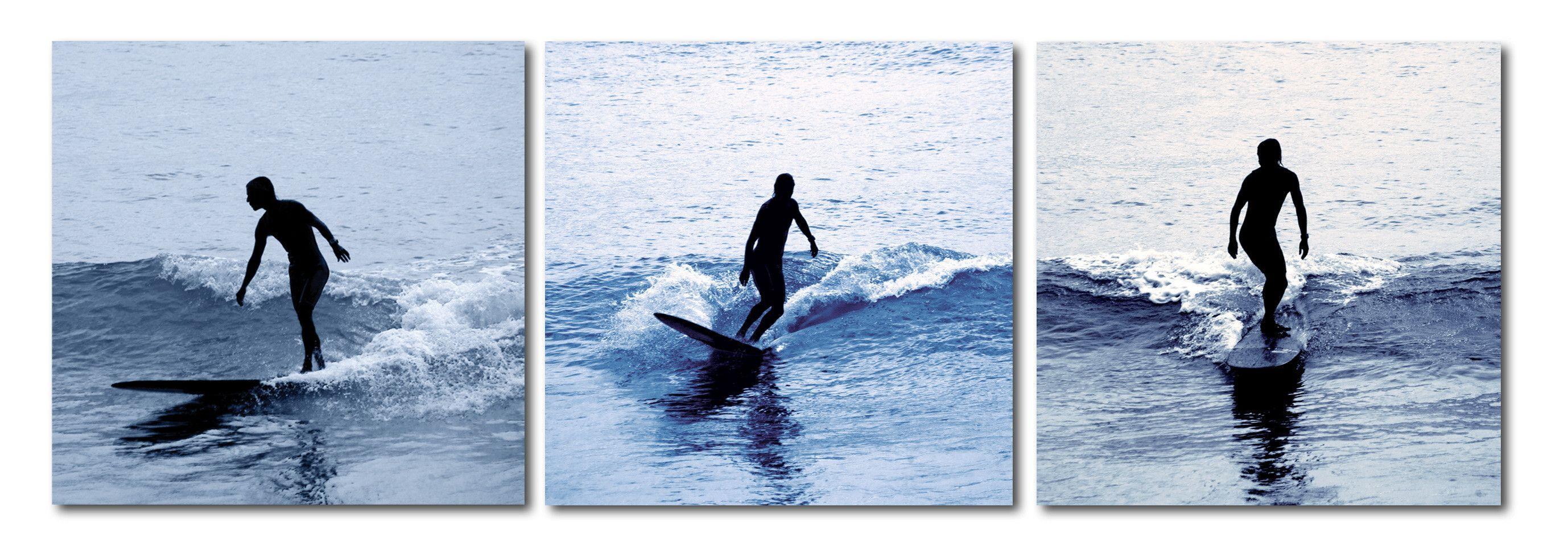 Baxton Studio Surf Silhouettes Mounted Photography Print Triptych Photography Print Triptych Wall Art Wholesale Interiors