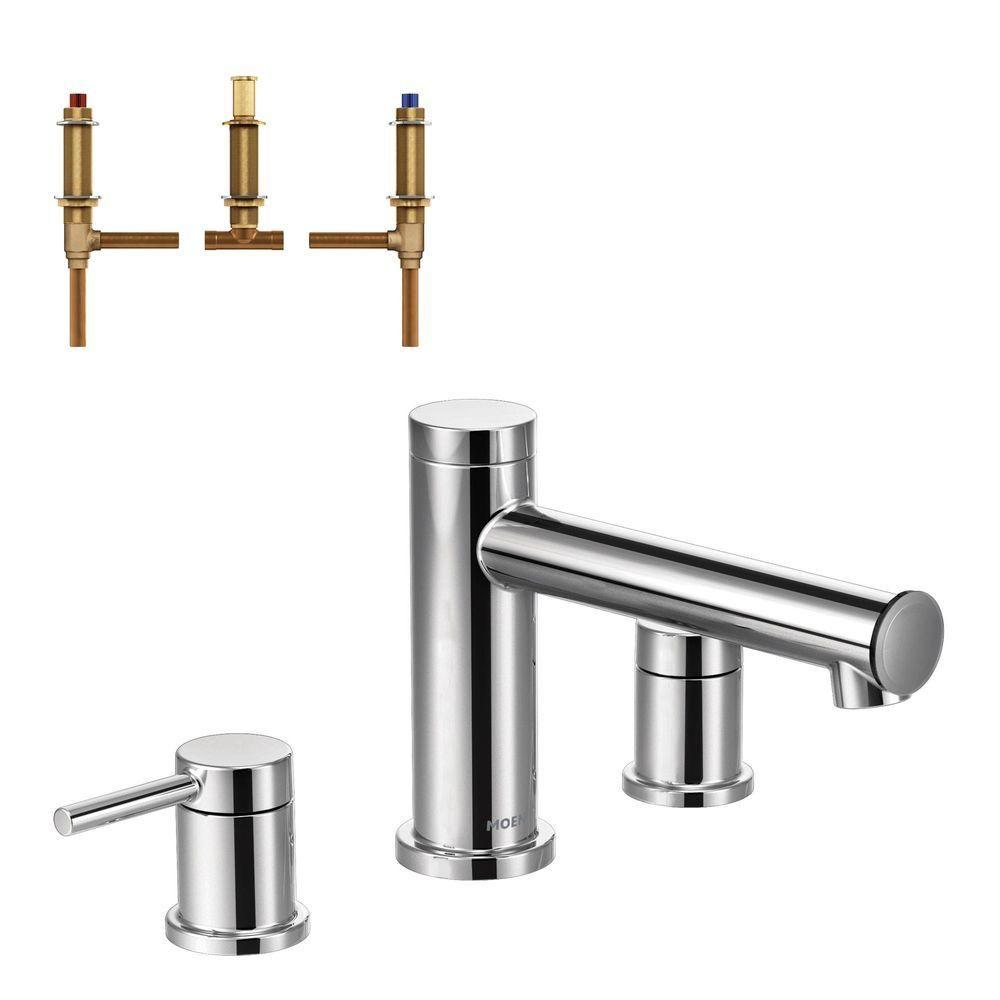 Moen Align 2 Handle Deck Mount Roman Tub Faucet Trim Kit With Valve In Chrome T393 4792 The Home Depot Roman Tub Faucets Tub Faucet Roman Tub