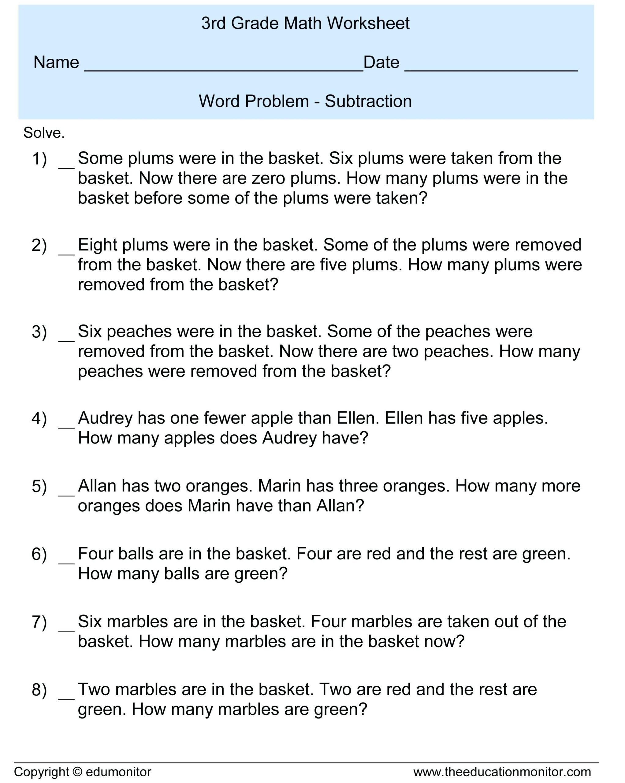 Simple Addition Word Problem Worksheets 3rd Grade Subtraction Word Problems Free Ma Word Problem Worksheets 3rd Grade Math Worksheets Subtraction Word Problems