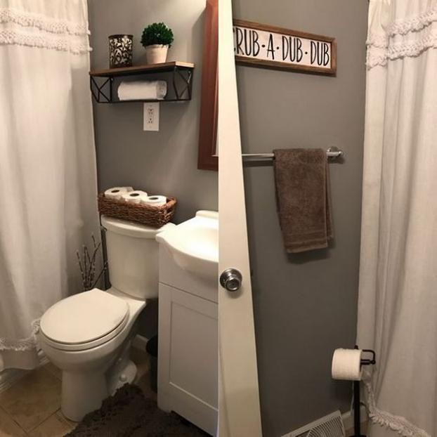 50+ Fabulous Farmhouse Bathroom for Small Space | Small ...