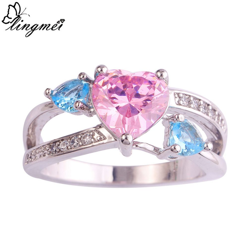 lingmei Love Jewelry Wedding Engagement Rings Heart Pink Blue White ...