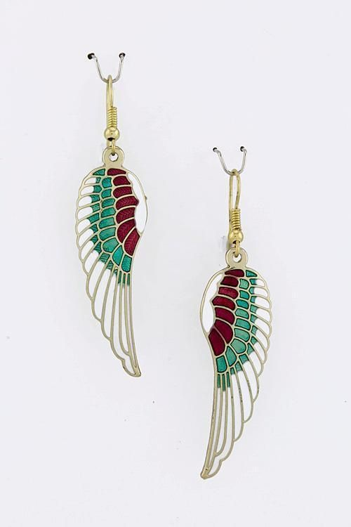 Gold Southwestern Angels Wings Earrings Enamel Multi Color White USA Seller #CrystalAvenue #DropDangle