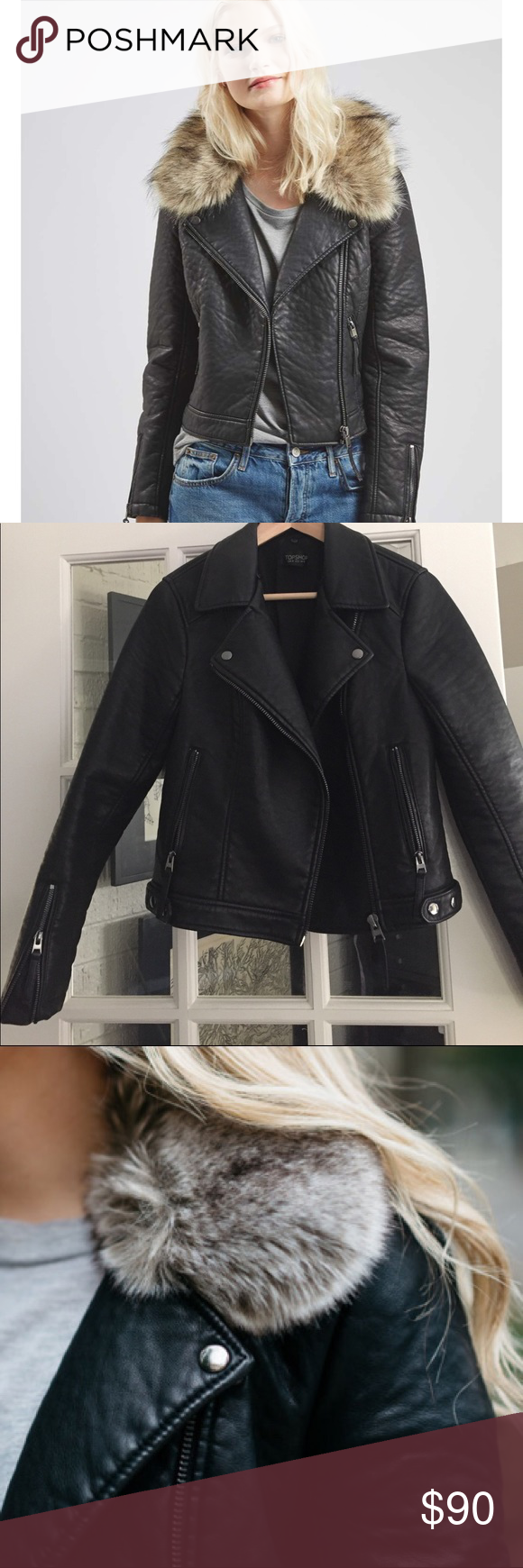 faux leather jacket with faux fur collar Faux