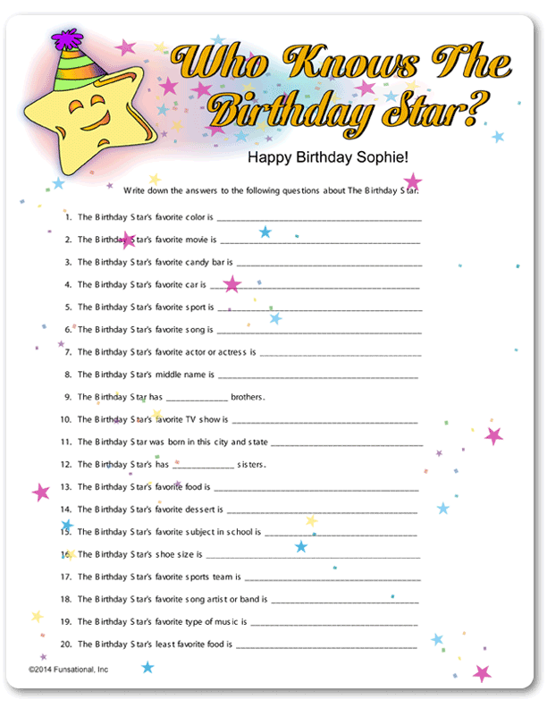 Printable who knows the birthday star 90th birthday for Birthday games ideas for adults