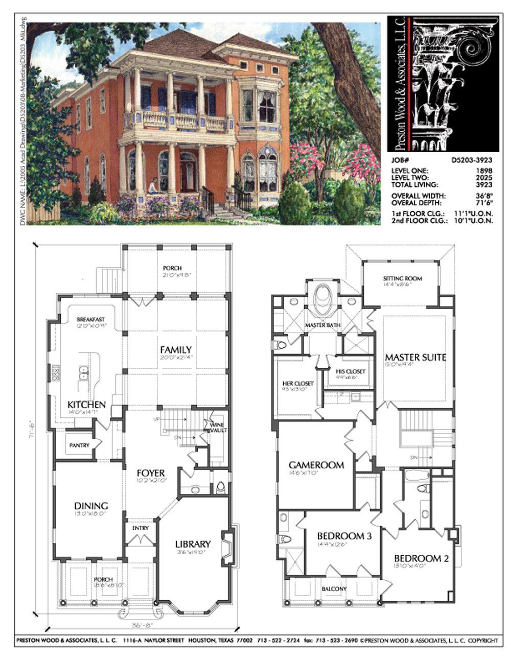 Urban Home Plan D5203 3923 Vintage House Plans House Plans Dream House Plans