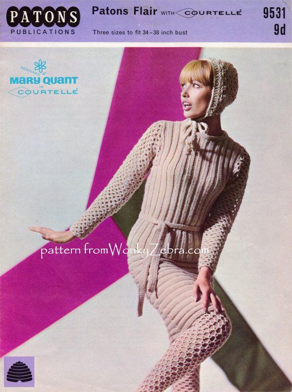 Vintage años 60 Mary Quant Crochet y tejer diseño patrón medias ...