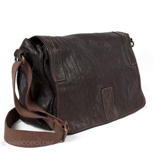 Large Distressed Leather Messenger Bag: DOMENICO, by Campomaggi | Marcopoloni