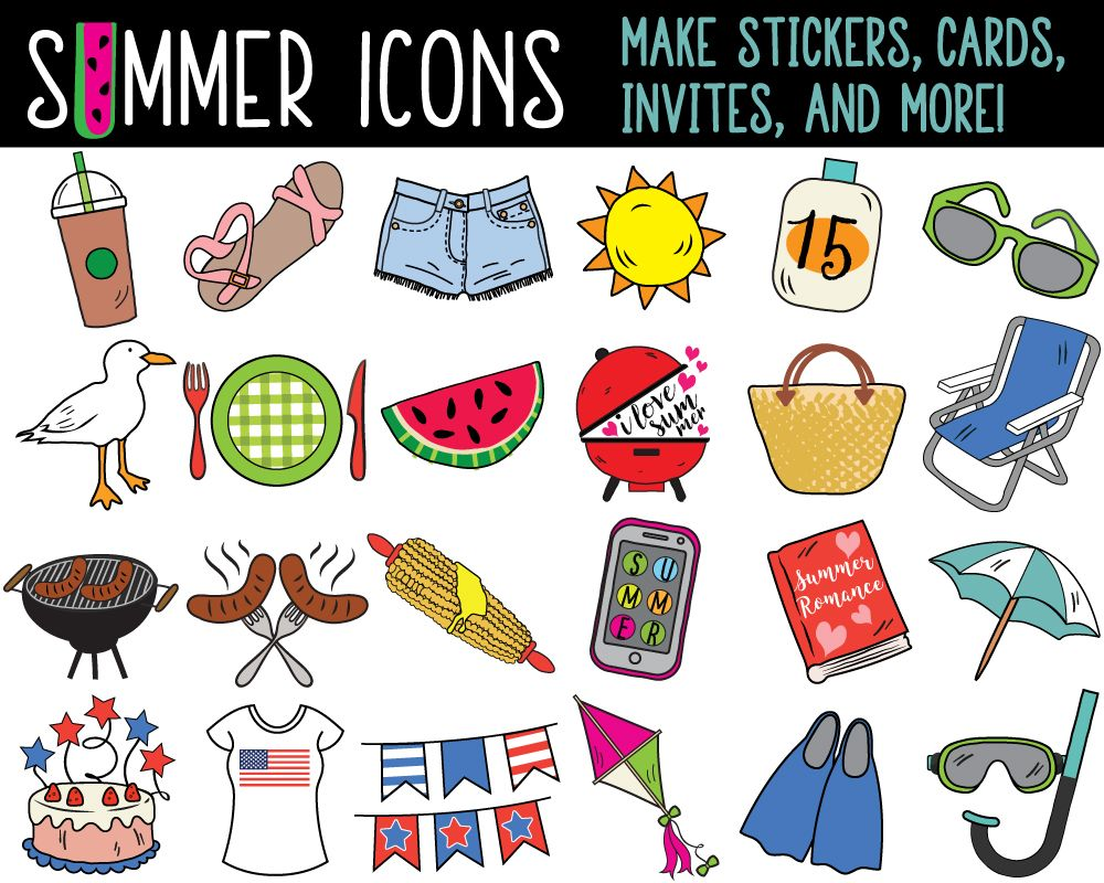 Mega Bundle Summer Clipart Summer Clip Art Printable Planner Etsy In 2021 Daily Planner Stickers Bullet Journal Stickers Clip Art