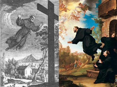 José de Cupertino. Leyendea Divertida. Los capuchinos lo expulsaron por distraído. En un establo se desempeño con destreza porque los animales lo querían, se reunían y lo escuchaban orar. Las golondrinas lo acompañaban. Su ministerio era de penitencias y oraciones. Ayunaba a pan y agua. Gozaba de éxtasis, y curaciones milagrosas. Alguna vez se elevó por los aires  y llevó una  cruz a una cima. Fue resguardado en conventos alejados que la gente descubría. ¿De Saramago?