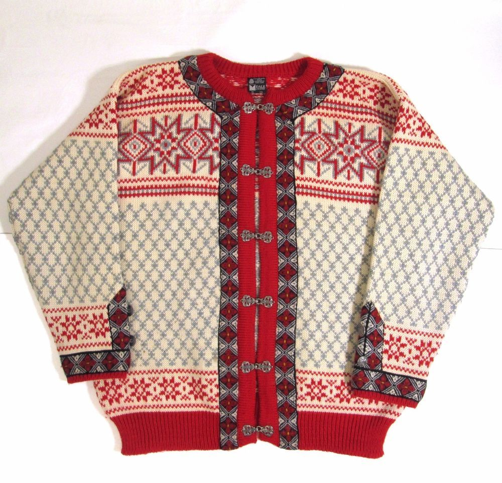 Dale of Norway Wool Christmas Sweater Mens Size 56 XXL Red Grey ...
