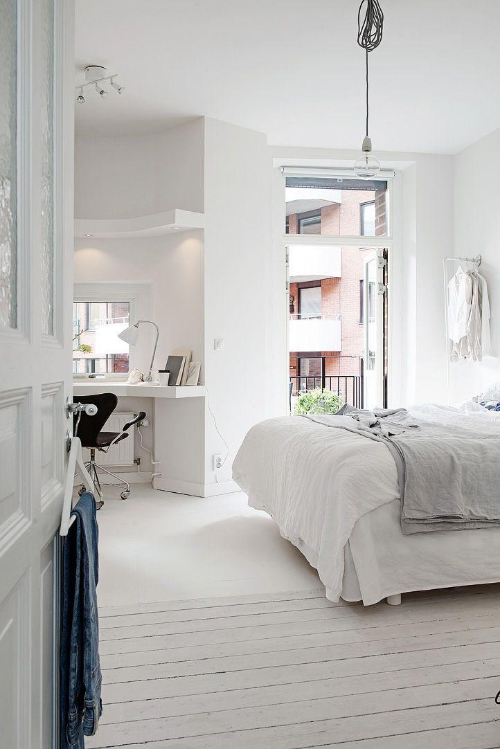 white, light, window desk & private terrace: the perfect room / via Alvhem