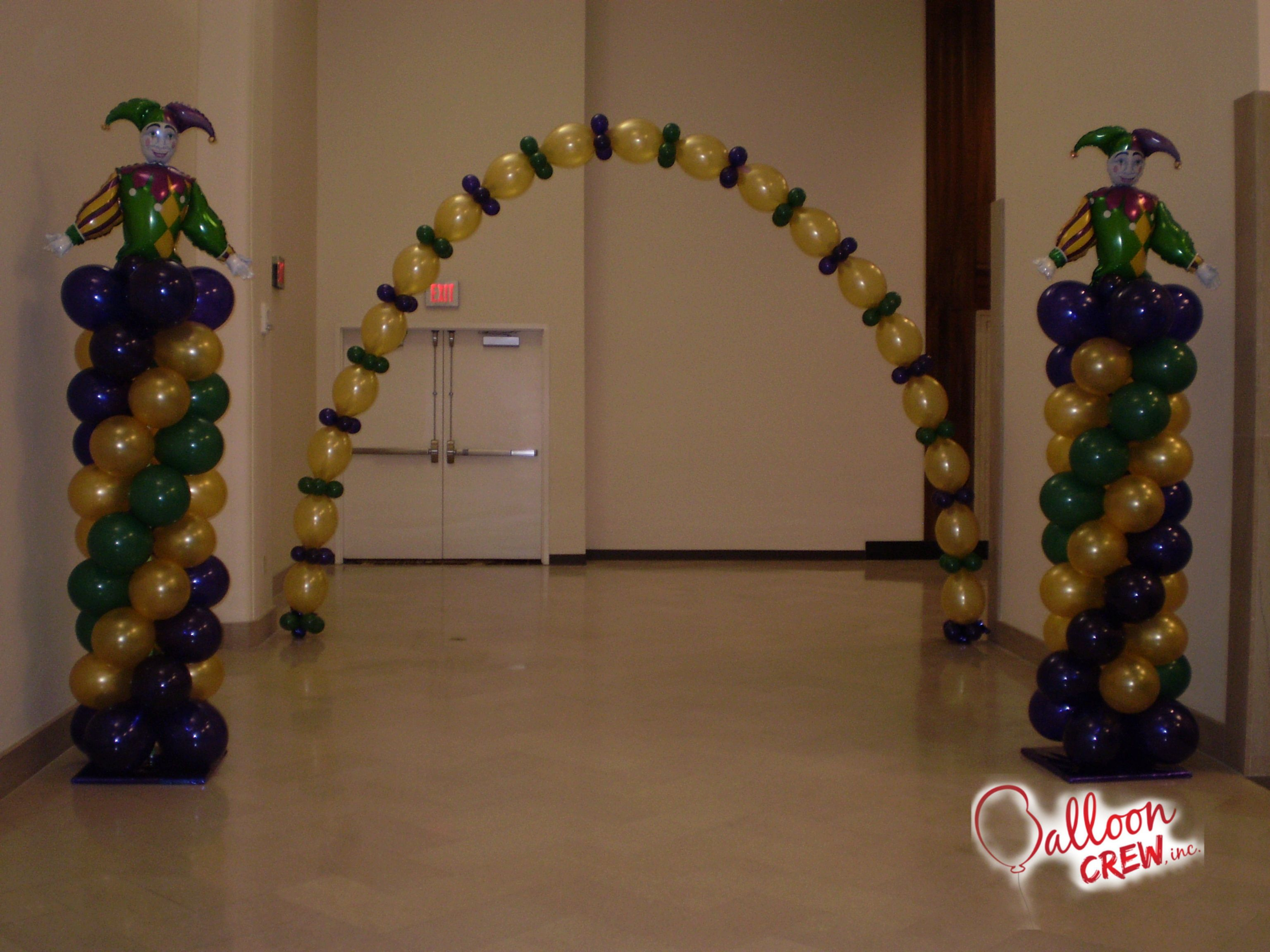 Mardi Gras Balloon Arch | Mardi gras decorations, Mardi ...