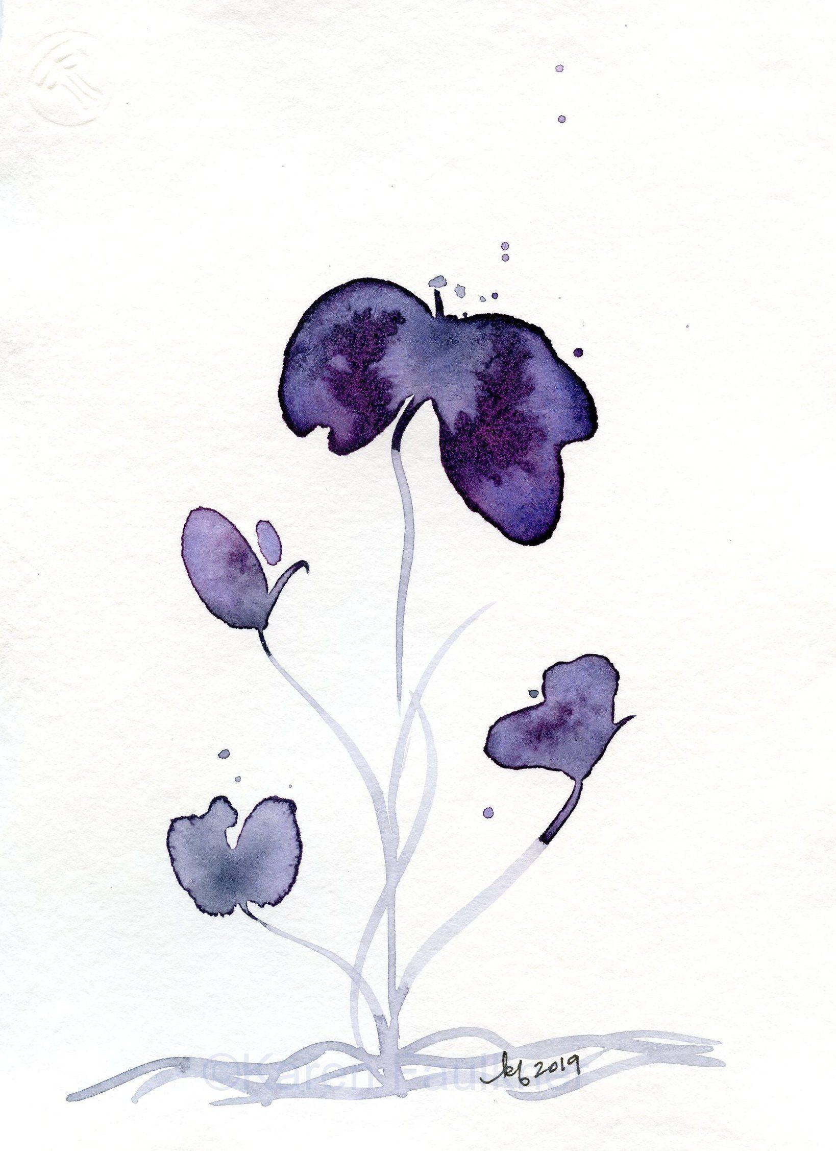 Original Watercolor Flower Painting Indigo Violet 3