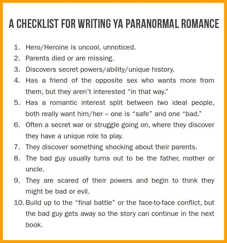 A Checklist for Writing YA Paranormal Romance | Great Advice