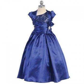 Chic Baby Royal Blue Sequin Bow Flower Girl Dress Bolero Set Girls 4-12