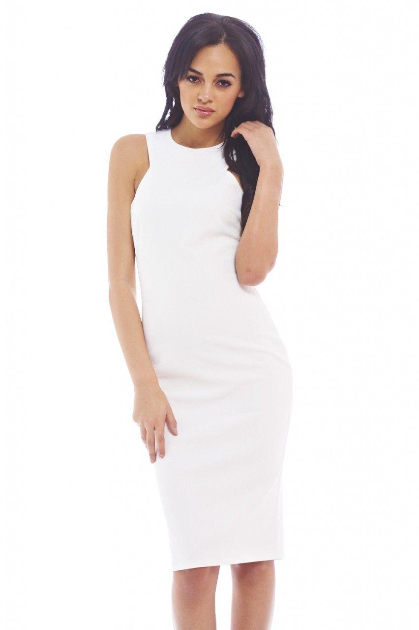 7822040a2460 PLAIN WHITE MIDI DRESS Cream Midi Dress