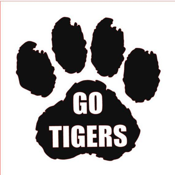 299e002c3769 Tiger Paw Vinyl Name Decal, Paw Print Vinyl Decal; Custom Decal in choice  of colors and sizes for ca