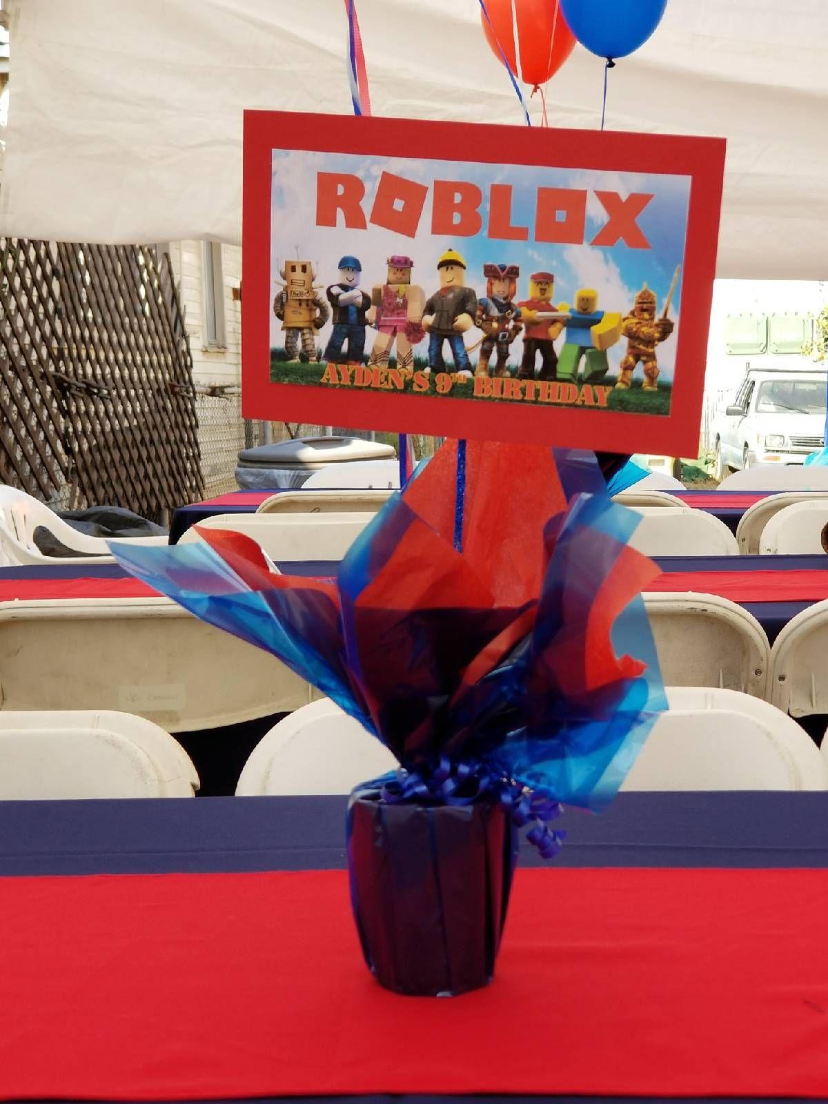 Roblox Centerpieces Roblox Birthday Party Robot Birthday Party Roblox Birthday Party Ideas