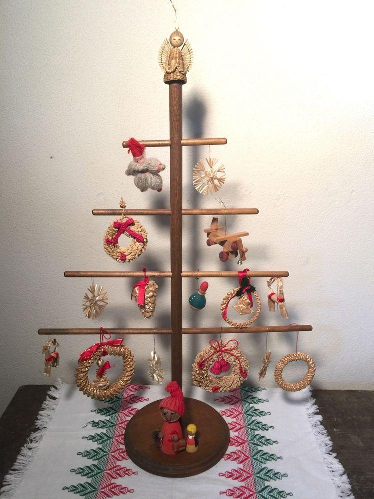 FAB! Vtg Wood Swedish Christmas Tree With Ornaments Lot