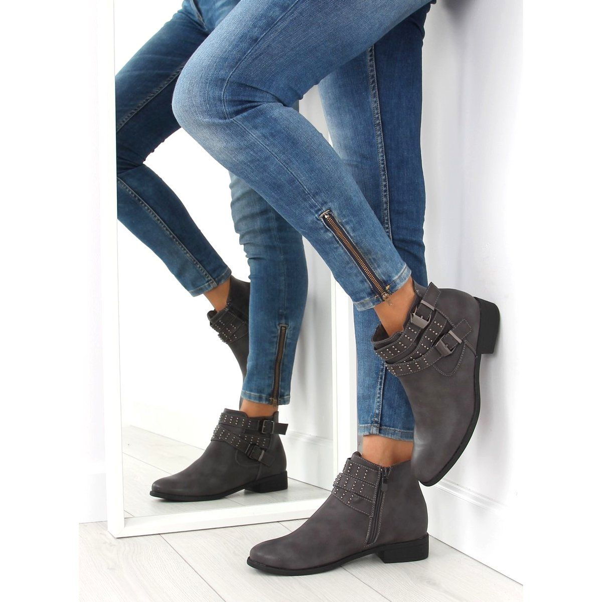 Botki Sztyblety Szare Pe153p Grey Shoes Boots Bootie Boots