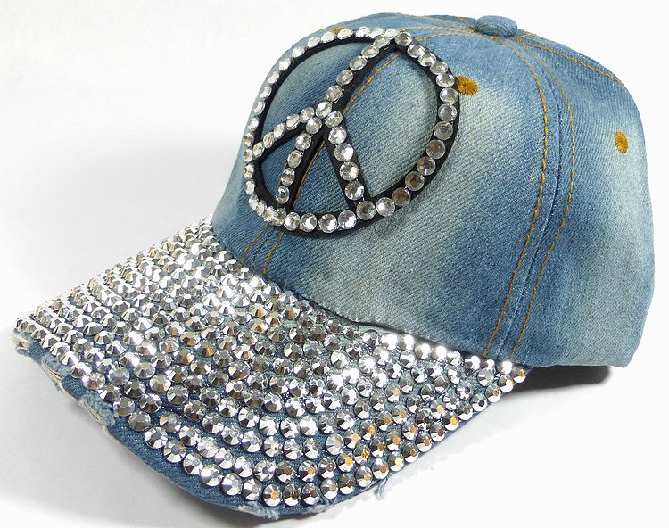 a57d56afda9ff3 Rhinestone Distressed Bling Baseball Caps Wholesale - Shiny Brim - Peace -  Denim Medium Stone