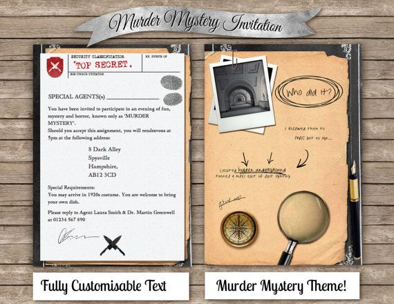 DIY Murder Mystery Invitation , Digital \ printable invite , Clue - invitation wording for mystery party