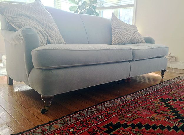 Great Blue Sofa, Roll Arm Sofa, Oriental Rug