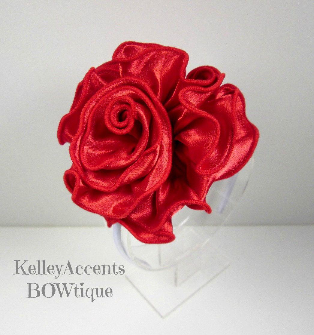 Big Red Satin Rose Headband Satin Blossom Flower By Kabowtique Rose Headband Satin Roses Satin Flowers
