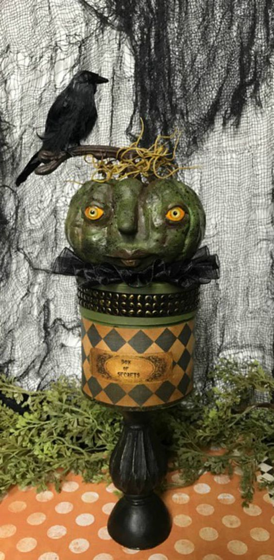 Halloween Pumpkin box Halloween Decoration Paper Mache Box - halloween decoration images