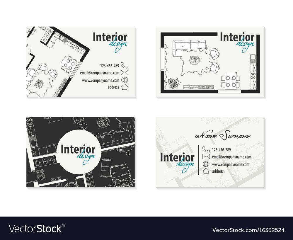 Set of business cards for an interior designer vector ...