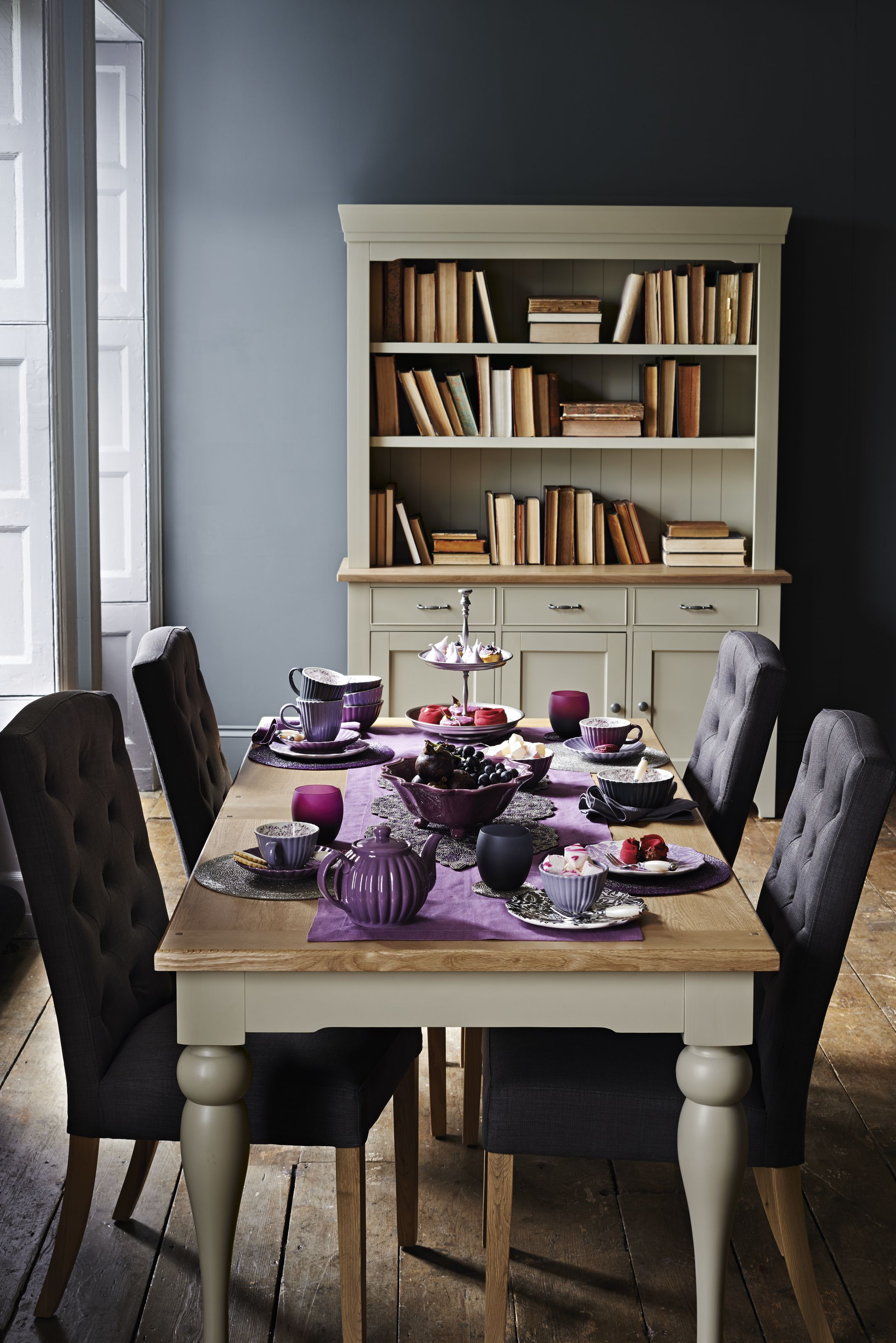 Dinning room set home purple colour set eat home decor