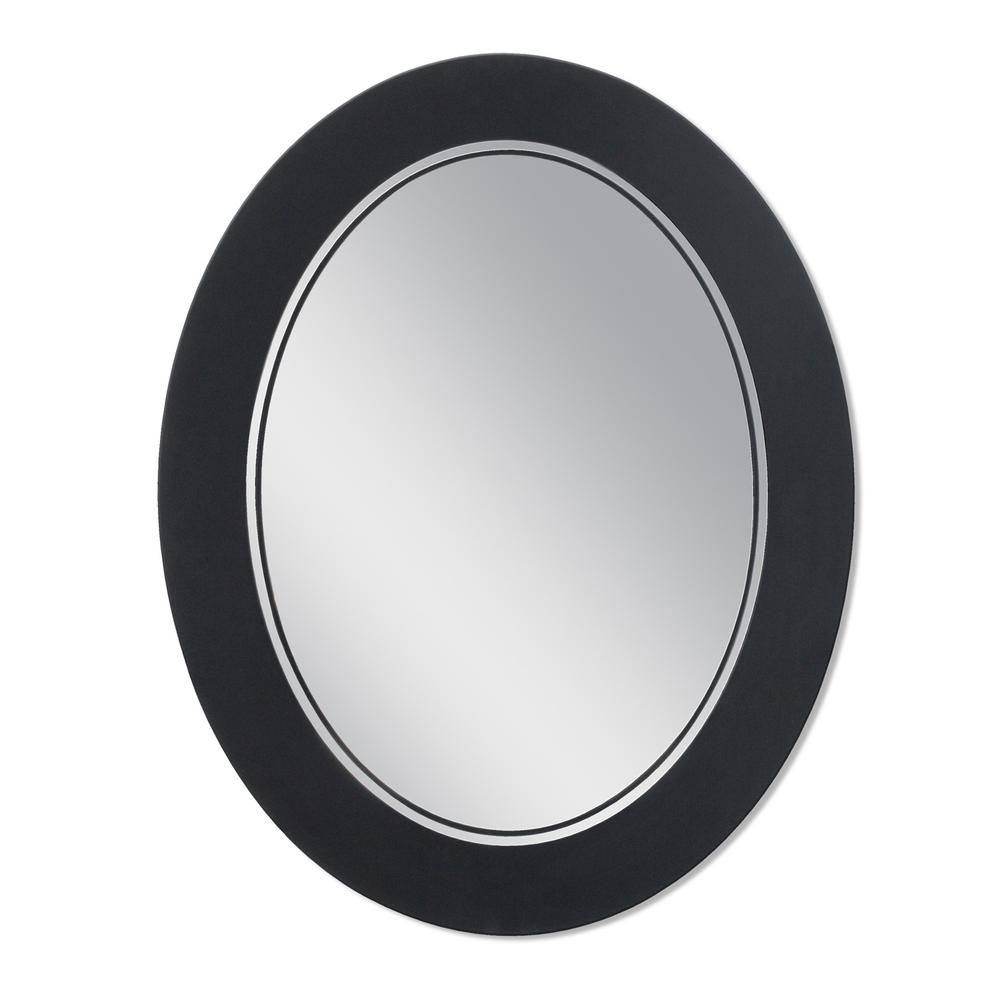 Deco Mirror Frosted 23 In X 29 In Single Frameless Oval Wall