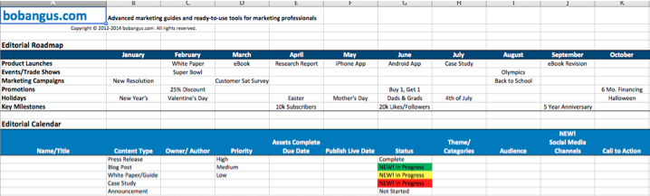 Content Marketing Editorial Calendar Templates The Ultimate List
