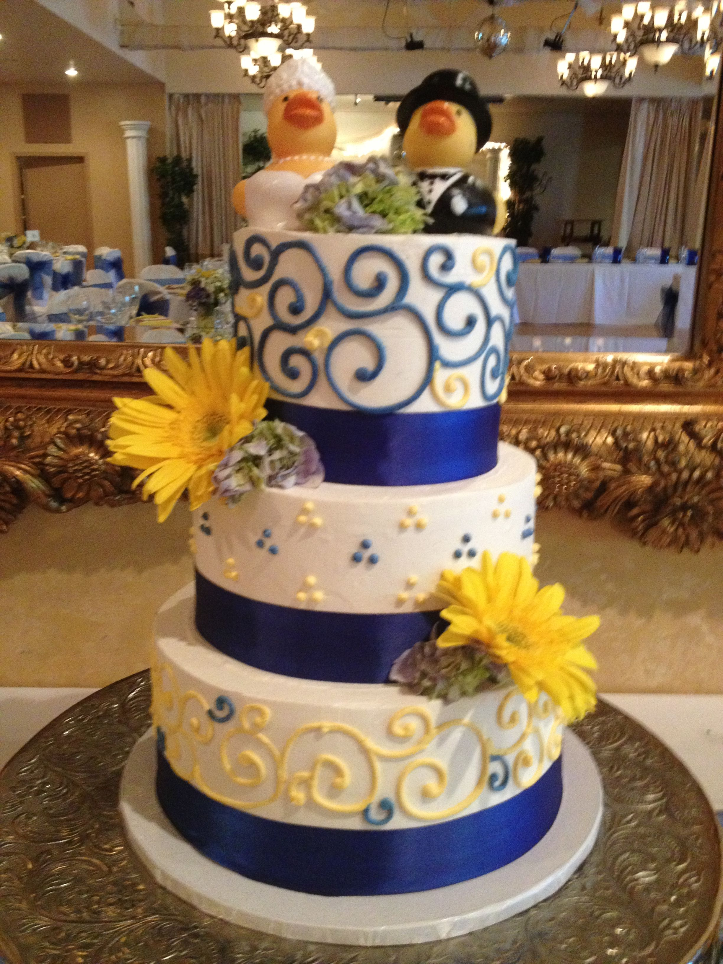 royal blue and yellow buttercream wedding cake with blue ribbon boarder rubber duckie bride and. Black Bedroom Furniture Sets. Home Design Ideas