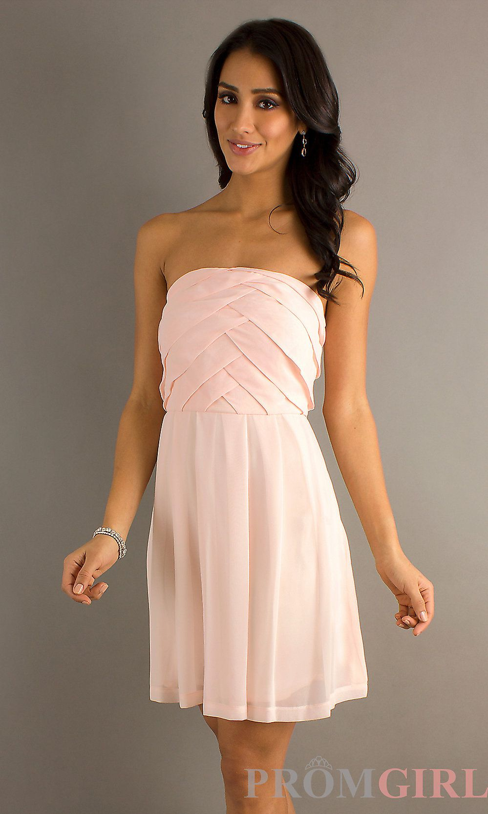 Romantic blush short bridesmaid dresses chiffon strapless semi